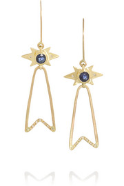 SCOSHA Prestige Ribbon 18-karat gold, diamond and sapphire earrings
