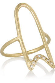 Hollow Ribbon 10-karat gold diamond ring