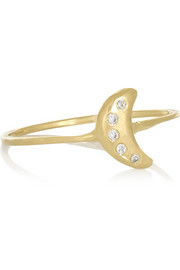 Tiny Moon 10-karat gold diamond ring