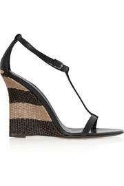 Leather and raffia wedge sandals