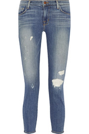 835 cropped mid-rise distressed skinny jeans