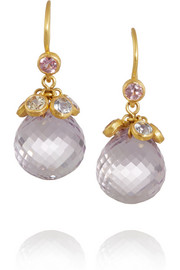 22-karat gold, amethyst and sapphire drop earrings