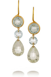 22-karat gold, aquamarine and quartz earrings