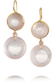 22-karat gold quartz earrings