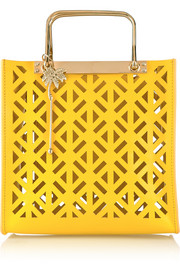Square perforated leather tote