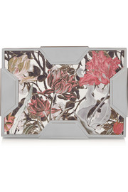 Lee Savage Space large floral-print leather box clutch