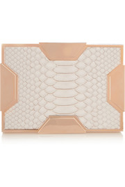Space large python and rose gold-tone box clutch