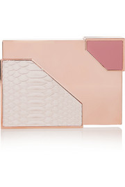 Lee Savage Broken Space rose gold-tone, python and leather box clutch