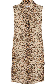Lucida leopard-print washed-silk mini dress