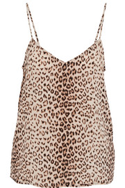Layla leopard-print washed-silk camisole