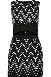 DKNY Cutout embroidered cotton-blend mini dress