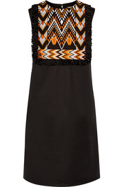 DKNY Embroidered stretch-cotton poplin mini dress