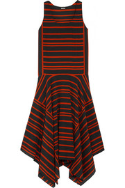 Striped silk crepe de chine midi dress