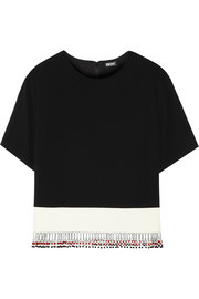 DKNY Embellished crepe and cotton top