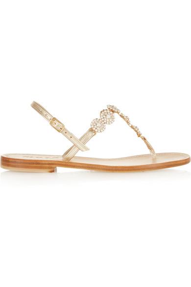 054560326 Musa | Swarovski crystal-embellished metallic leather sandals | NET ...