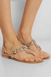 Swarovski crystal-embellished metallic leather sandals