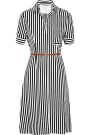 Kieran striped silk crepe de chine shirt dress