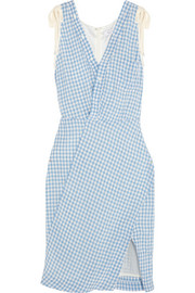 Portia gingham crinkled-poplin dress