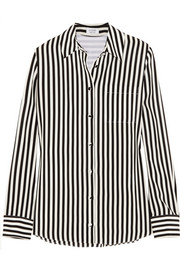 Chika striped silk crepe de chine shirt