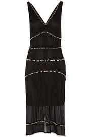 Gabrieli faux Swarovski pearl-embellished silk dress