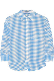 Volpone gingham crinkled-twill shirt