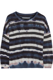 Shredded tie-dyed wool and cashmere-blend sweater