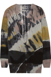 Tie-dyed wool and cashmere-blend cardigan