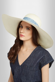 Acapulco chambray-trimmed straw hat