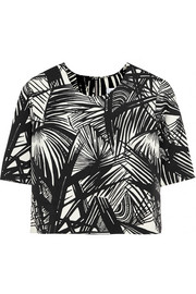 Lowell cropped printed stretch-scuba jersey top