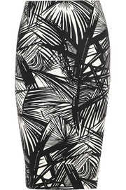 Aisling printed stretch-scuba jersey pencil skirt
