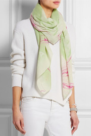 Milky Block printed cotton and modal-blend scarf