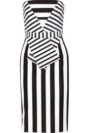 Striped tech-jersey strapless dress