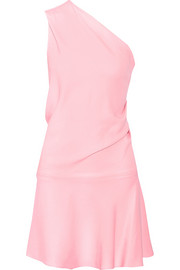 One-shoulder stretch-cady mini dress