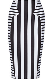 Striped stretch-neoprene pencil skirt