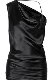 One-shoulder silk-satin top