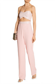 Embellished cutout stretch-cady jumpsuit