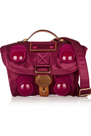Trooper mini leather-trimmed satin-twill shoulder bag