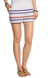LemLem Kedame striped cotton-blend gauze shorts