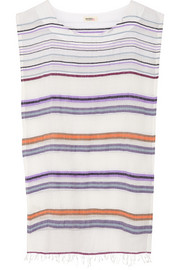 Kedame Beehive striped cotton-blend gauze coverup