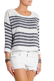 LemLem Zare striped cotton-blend gauze top