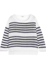 Zare striped cotton-blend gauze top