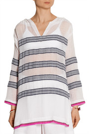 LemLem Tinish striped hooded cotton-blend gauze top