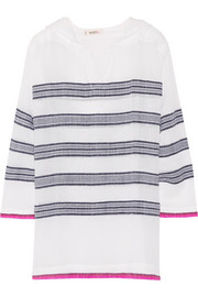 Tinish striped hooded cotton-blend gauze top