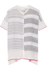 Shora striped cotton-blend gauze top