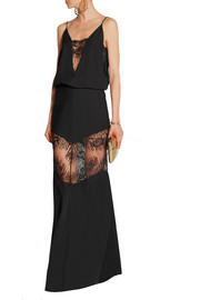 Lace-paneled silk-georgette gown
