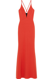 Jersey-paneled stretch-crepe gown