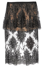 Cotton-blend lace peplum skirt