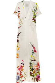 Floral-print crepe de chine maxi dress