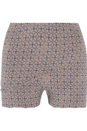 Lotus printed stretch-jersey shorts