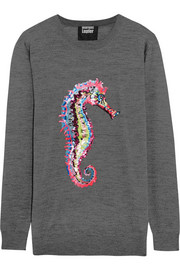 Seahorse sequined merino wool sweater